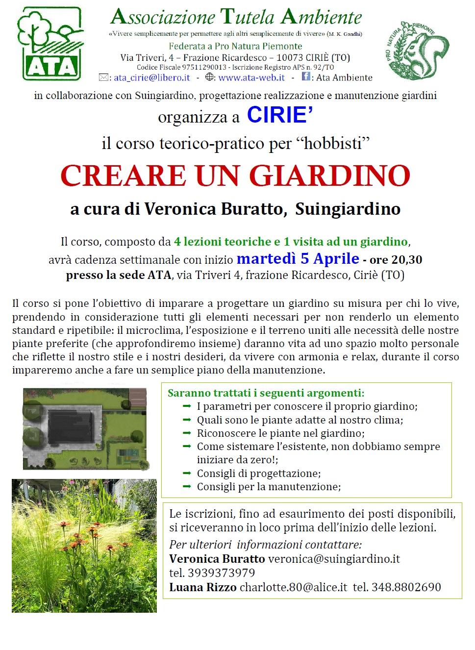 Corso di giardinaggio ata associazione tutela ambiente for Creare un giardino